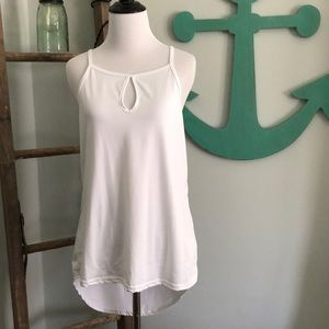 White tank top with keyhole detail